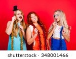 young nice girls have fun on a... | Shutterstock . vector #348001466