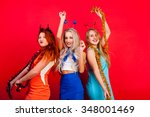 young nice girls have fun on a...   Shutterstock . vector #348001469
