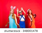 young nice girls have fun on a... | Shutterstock . vector #348001478