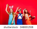 young nice girls have fun on a... | Shutterstock . vector #348001508
