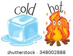 cold icecube and hot fire... | Shutterstock .eps vector #348002888