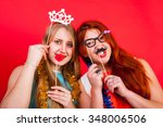 young nice girls have fun on a... | Shutterstock . vector #348006506