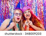 young nice girls have fun on a... | Shutterstock . vector #348009203