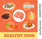 food for brain and health.... | Shutterstock .eps vector #348009398