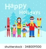 family winter vacation.happy... | Shutterstock .eps vector #348009500