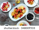 breakfast pancakes with berry ... | Shutterstock . vector #348009533
