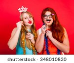 young nice girls have fun on a... | Shutterstock . vector #348010820