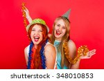 young nice girls have fun on a... | Shutterstock . vector #348010853