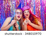 young nice girls have fun on a... | Shutterstock . vector #348010970