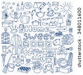 hand drawn home set on squared... | Shutterstock .eps vector #348011600