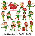 christmas elf in different... | Shutterstock .eps vector #348012008