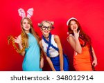 young nice girls have fun on a... | Shutterstock . vector #348012914