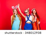 young nice girls have fun on a... | Shutterstock . vector #348012938