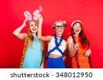young nice girls have fun on a... | Shutterstock . vector #348012950