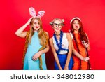 young nice girls have fun on a... | Shutterstock . vector #348012980
