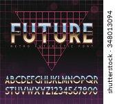 shiny chrome alphabet in 80s...   Shutterstock .eps vector #348013094