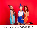 young nice girls have fun on a... | Shutterstock . vector #348015110