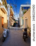 Small photo of Aegina, Greece - November 23, 2015: Streets in the centre of Aegina town on Aegina island, Greece