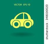 flat long shadow car icon ... | Shutterstock .eps vector #348030020