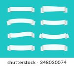 set of white ribbon banners.... | Shutterstock .eps vector #348030074
