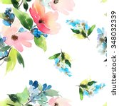 seamless pattern with flowers... | Shutterstock . vector #348032339