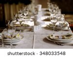 long wedding table in the... | Shutterstock . vector #348033548