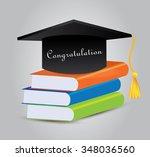 graduation cap and book. vector ... | Shutterstock .eps vector #348036560