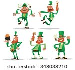 set of funny leprechauns with... | Shutterstock .eps vector #348038210