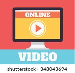 online video. vector flat... | Shutterstock .eps vector #348043694