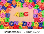 plastic colored alphabet... | Shutterstock . vector #348046670