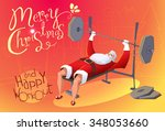 santa claus workout in gym.... | Shutterstock .eps vector #348053660