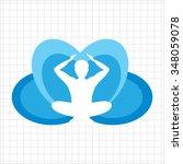icon of meditating man's... | Shutterstock .eps vector #348059078