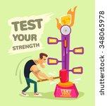 test your strength. vector flat ... | Shutterstock .eps vector #348065978