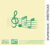 musical notes and treble clef.... | Shutterstock .eps vector #348076163