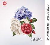 bouquet of roses  watercolor ... | Shutterstock .eps vector #348081620