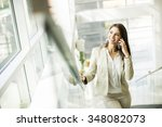 young woman with mobile phone... | Shutterstock . vector #348082073