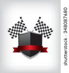 racing flags and black shield   Shutterstock .eps vector #348087680