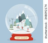snow globe with mountain ski... | Shutterstock .eps vector #348092174