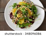 winter salad with orange and... | Shutterstock . vector #348096086