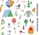 travel and camping seamless... | Shutterstock .eps vector #348100664