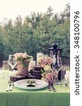 wedding table setting in... | Shutterstock . vector #348100796