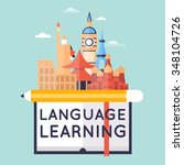 learning foreign languages.... | Shutterstock .eps vector #348104726