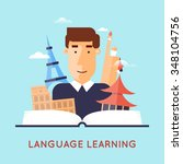 learning foreign languages.... | Shutterstock .eps vector #348104756