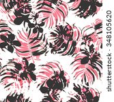 floral seamless tropic pattern | Shutterstock . vector #348105620