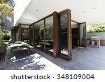 bi fold doors opening to rear... | Shutterstock . vector #348109004