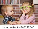 surprised toddler boy and... | Shutterstock . vector #348112568