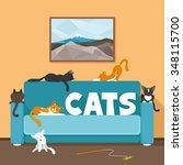 vector illustration. cute cats... | Shutterstock .eps vector #348115700