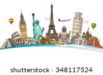 famous monuments of the world... | Shutterstock . vector #348117524