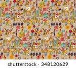 office life seamless pattern...   Shutterstock .eps vector #348120629