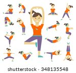 female yoga poses. girl and... | Shutterstock . vector #348135548